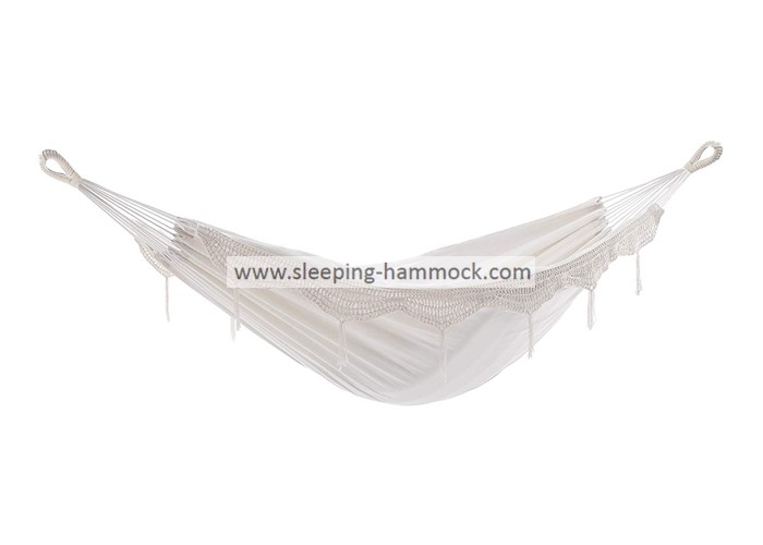 All Weather Double White Brazilian Hammock With Fringe For 2 Comfortable Outdoor Natural