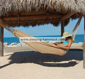 Traditional Travel Queen Size Hand Woven Mayan Hammock Without Stand For Two Person Tan